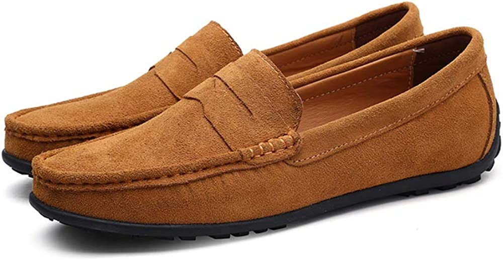 Color : Light Brown, Size TongLing Mens Drive Loafers Casual Bows are Breathable and Comfortable Boat Moccasins