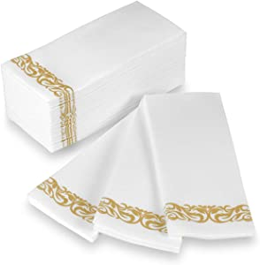 Disposable Hand Towels and Decorative Bathroom Napkins with Floral Trim Perfect for Holidays, Dinners, Parties, Weddings, Catering Events, and Everyday Use, 100 Count, Gold