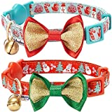 "Blueberry Pet Pack of 2 Cat Collars, The Power of Lavish Holiday Perfect Snowman Adjustable Breakaway Cat Collar with Bow Tie & Bell, Neck 9""-13"""