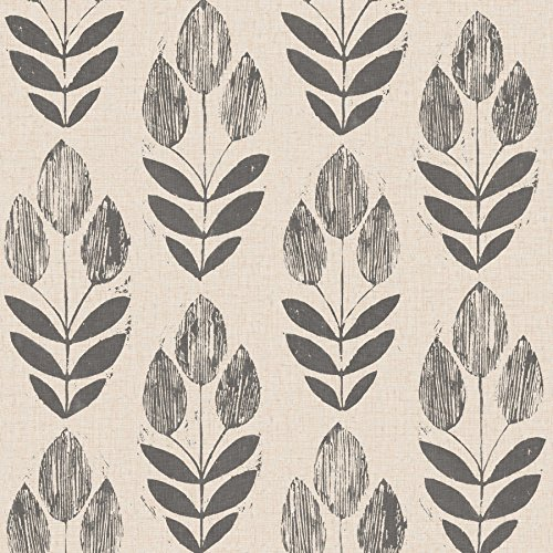 Beacon House 2535-20651 Scandinavian Block Print Tulip Wallpaper, Black (Floral Print Wallpaper)