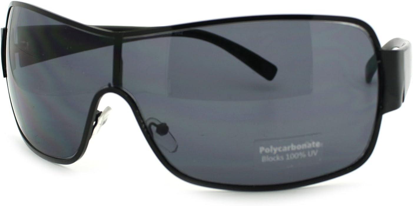 86307856fc0e Mens Oversized Rectangular Shield Designer Fashion Warp Sunglasses Black