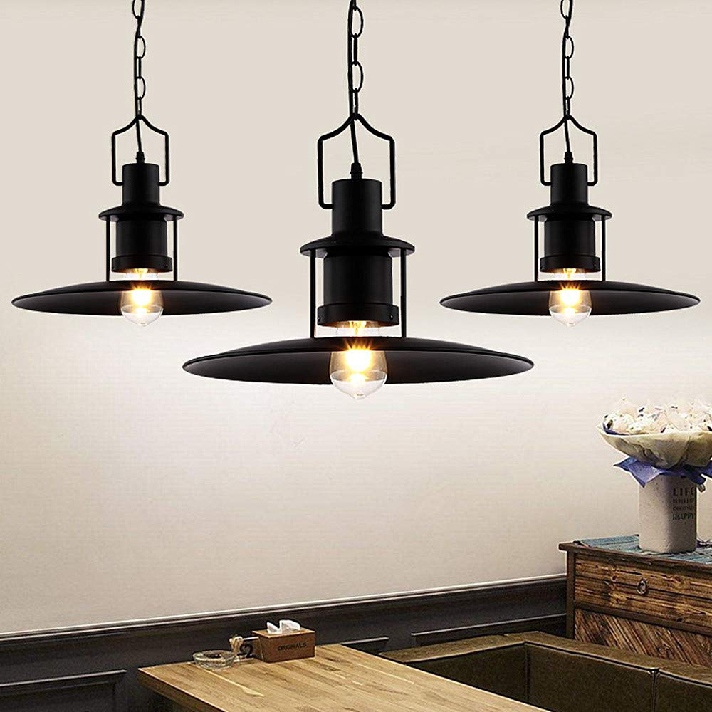 Ladiqi Industrial Hanging Pendant Light Black Vintage Hanging Lighting Fixture with Creative Saucer Shade for Restaurant Cafeteria Buffet by Ladiqi (Image #2)