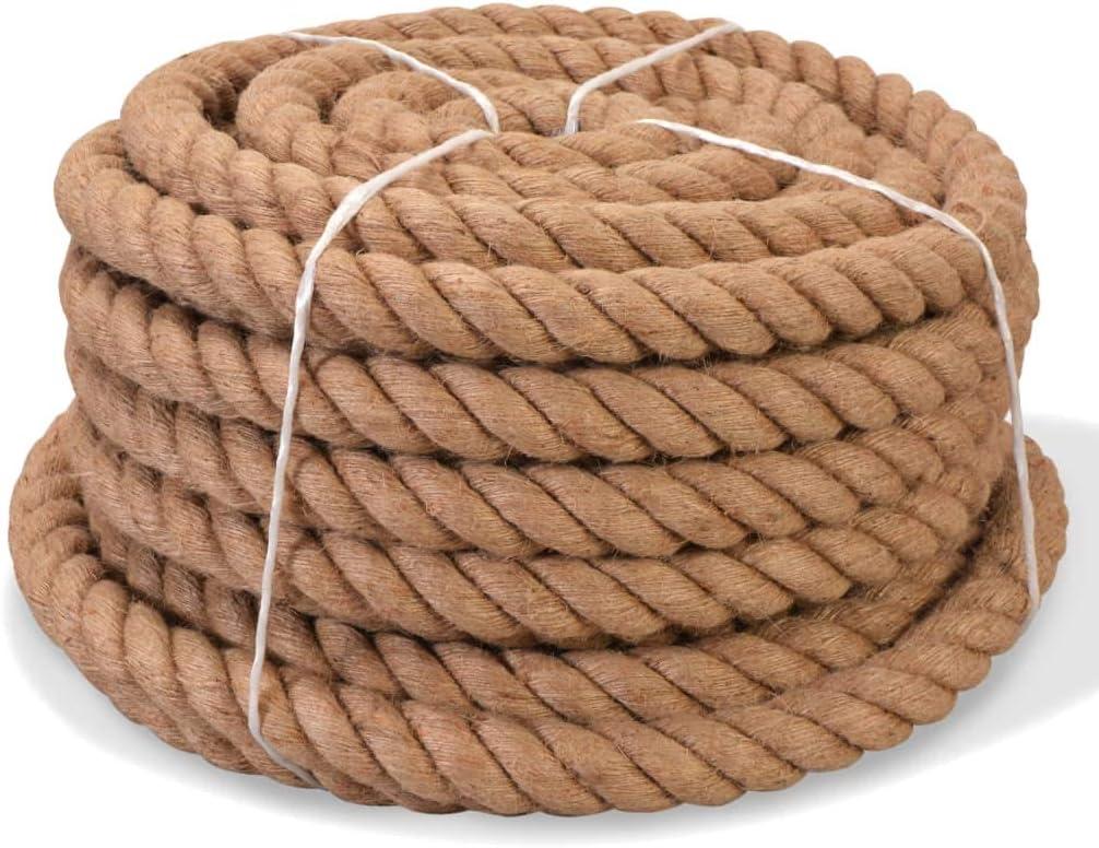 vidaXL Cuerda Trenzada 100/% Yute 12 mm 250 m Natural Soga Cord/ón Cable Cabo