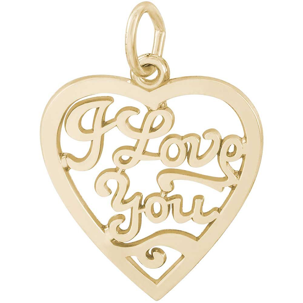 Rembrandt Charms I Love You Charm, 14K Yellow Gold