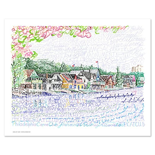 Boathouse Row Word Art Poster - Handwritten with Boathouse Names, Regattas, Philadelphia Points of Interest and more - 16