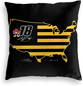"""FGHFGHF Kyle Busch Velvet Soft Solid Decorative Square Throw Pillow Covers Cushion Case for Sofa Bedroom Car,Spring Fall Home Invisible Zipper Durable Cushion Cover Pillow Case 16""""X16"""""""