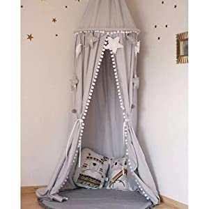 LOAOL Kids Bed Canopy with Pom Pom Hanging Mosquito Net for Baby Crib Nook Castle Game Tent Nursery Play Room Decor (Gray)