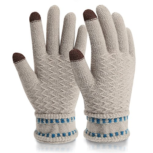 Gloves Touchscreen,Mossio Winter Gloves Texting Thick Windproof Warm Knit Mittens Grey (Lady In The Navy Gloves)