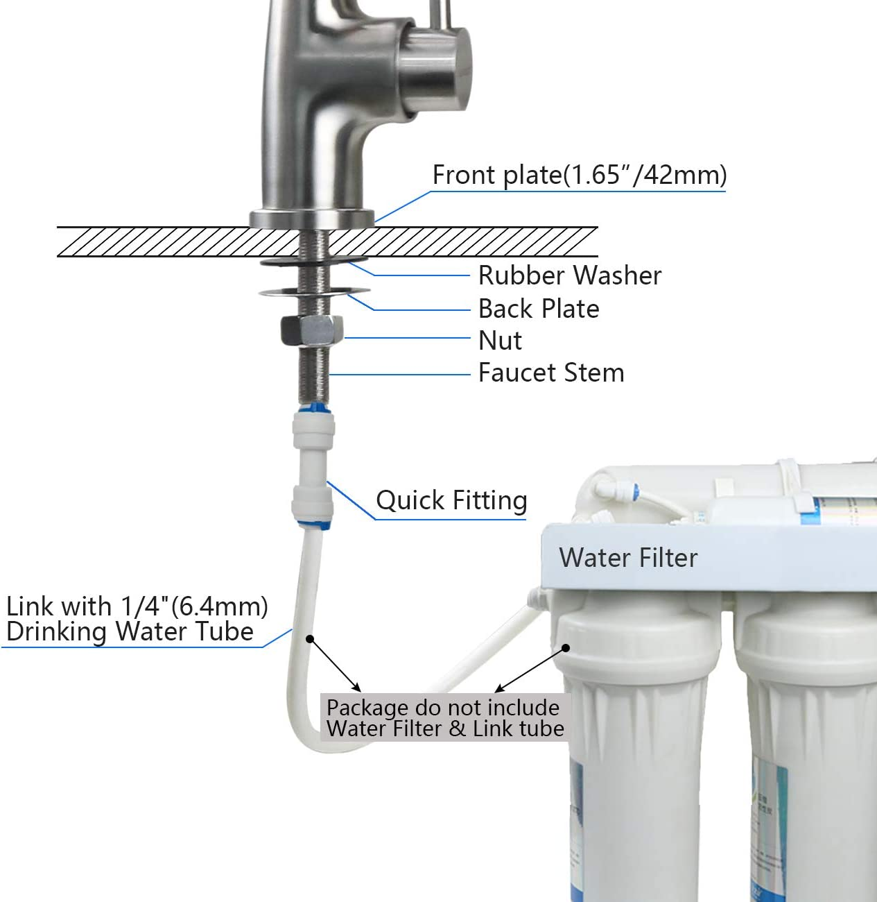 Drinking Water Filter Tap,Stainless Steel Touch On Kitchen Sink Purifier Faucet ,Fits All Drinking Water Filter Systems /& Reverse Osmosis Systems(Lead Free Single Handle) Brushed
