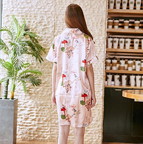 Wanyne Lovely Button Cardigan Printed with Strap Dress Gown Ladies with Nightdress Gowns Dressing Dressing YAqTrY