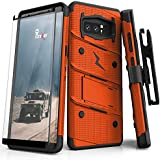 Samsung Galaxy Note 8 Case, Zizo [Bolt Series] FREE [Curved Full Glass Screen Protector]Kickstand[12 ft. Military Grade Drop Tested]Holster Note 8 Orange/Black