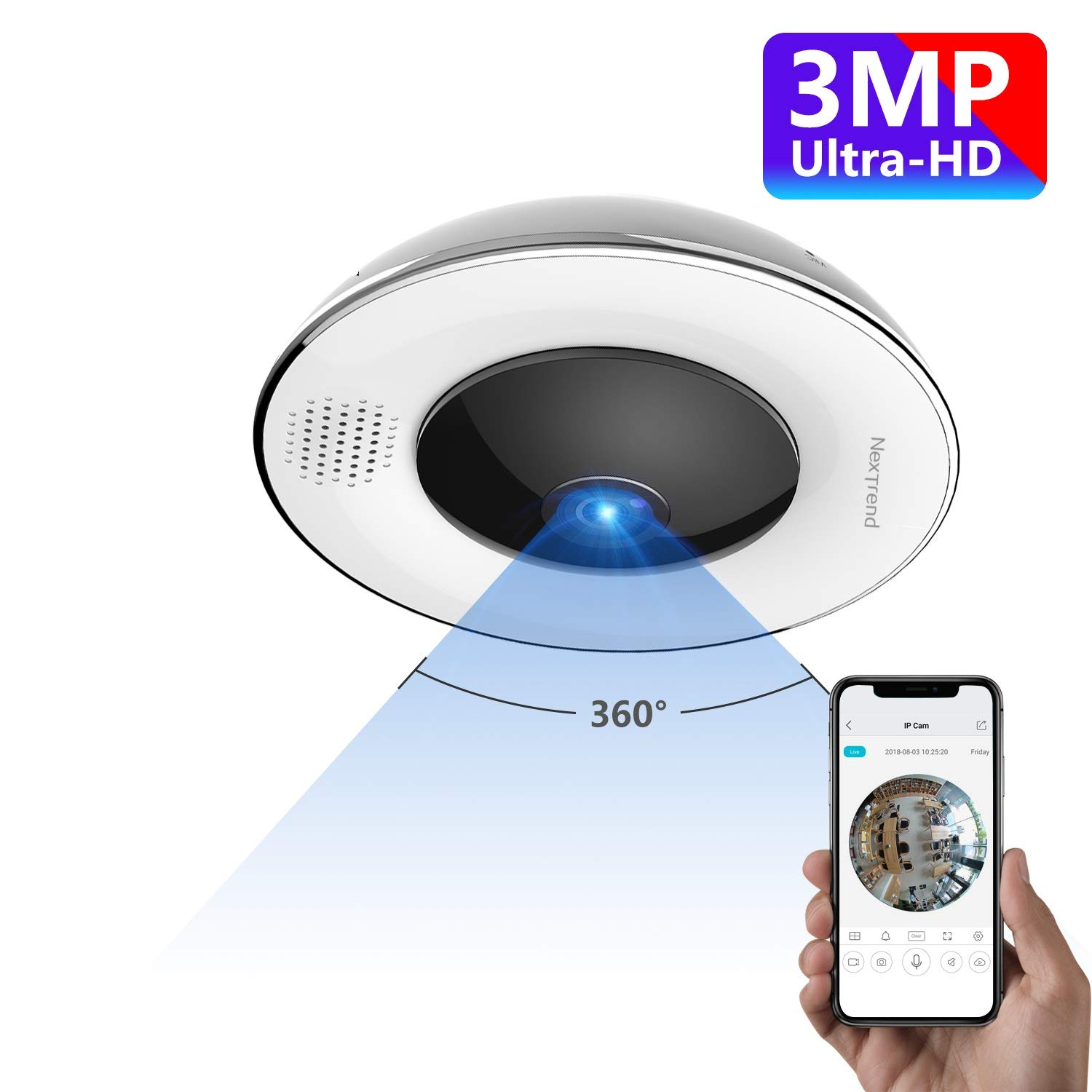 360° Panoramic Wireless WiFi IP Camera, NexTrend Ultra HD Home Security Camera with Fisheye Lens, Night Vision, Two Way Audio, Motion Detection, Support 128GB TF Card&Cloud Service by NexTrend