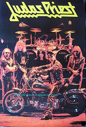 Judas Priest onstage with motorcycle POSTER 14.5 x 21 higher qual Rob Halford English heavy metal band (sent FROM USA in PVC pipe)