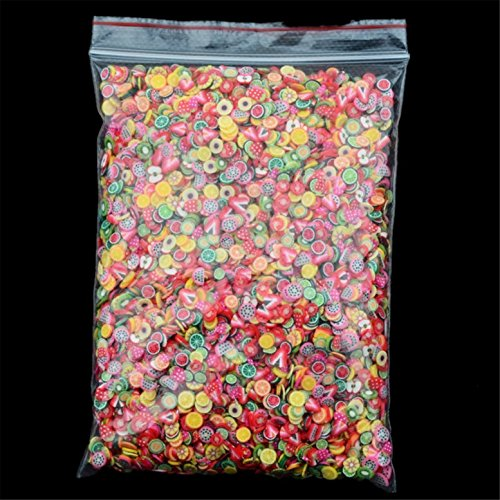 FantasyDay 10000Pcs Nail Sticker Mixed 3D Fruit Flower Candy Slices for Nail Art Tips Decoration Assorted Slices Clay Nails Stickers Rods Gel Tips Nailart Manicure #2 - Charms Slices for Wedding/Party