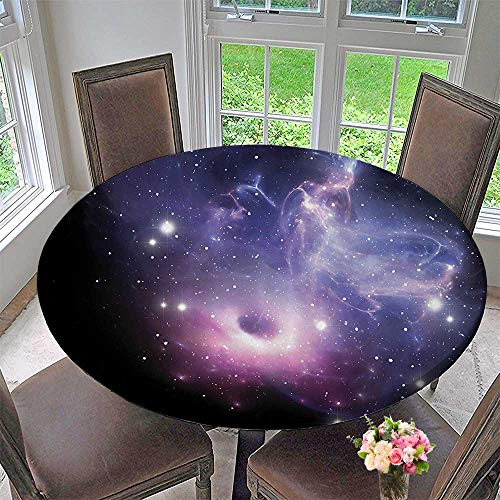 Mikihome Round Premium Table Cloth Black Hole in The Nebula Gas Cloud in Outer Space Universe Astro Solar System 50''-55'' Round (Elastic Edge) by Mikihome