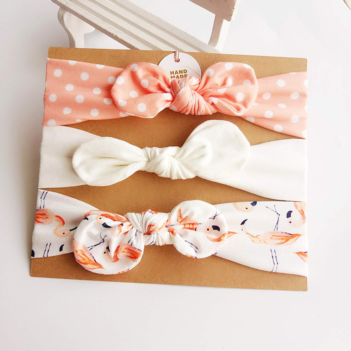 Elastic Turban Bow-knot Hairband Accessory for Newborn Toddlers Babies Kissral 3 PCS Baby Girl Hairband