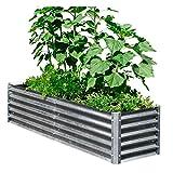 EarthMark Alto Series 40 in. x 76 in. x 17 in. Galvanized Metal Garden Bed Bundle