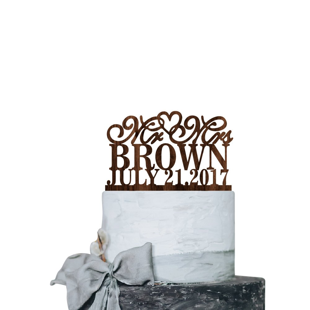 P Lab Personalized Cake Topper Mr. Mrs. Last Name Custom Date Wedding Cake Topper Rustic Wood Decoration Keepsake Engagement Favors for Special Event Walnut Wood