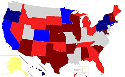Us Red Blue Map 2018.Amazon Com Home Comforts Laminated Map United States