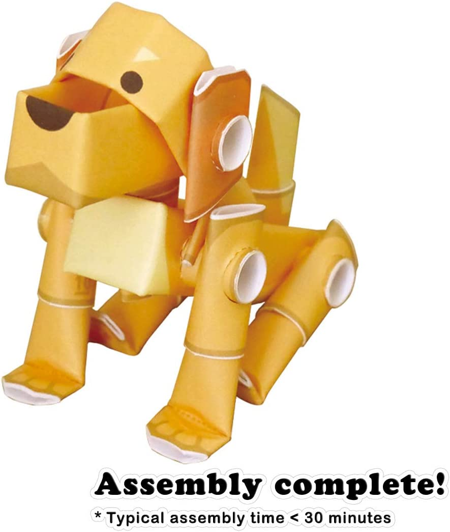PIPEROID Animals Golden Retreiver Dog Japanese DIY Paper Craft Kit Cool Science Party Favor for Teens and Origami Loving Adults