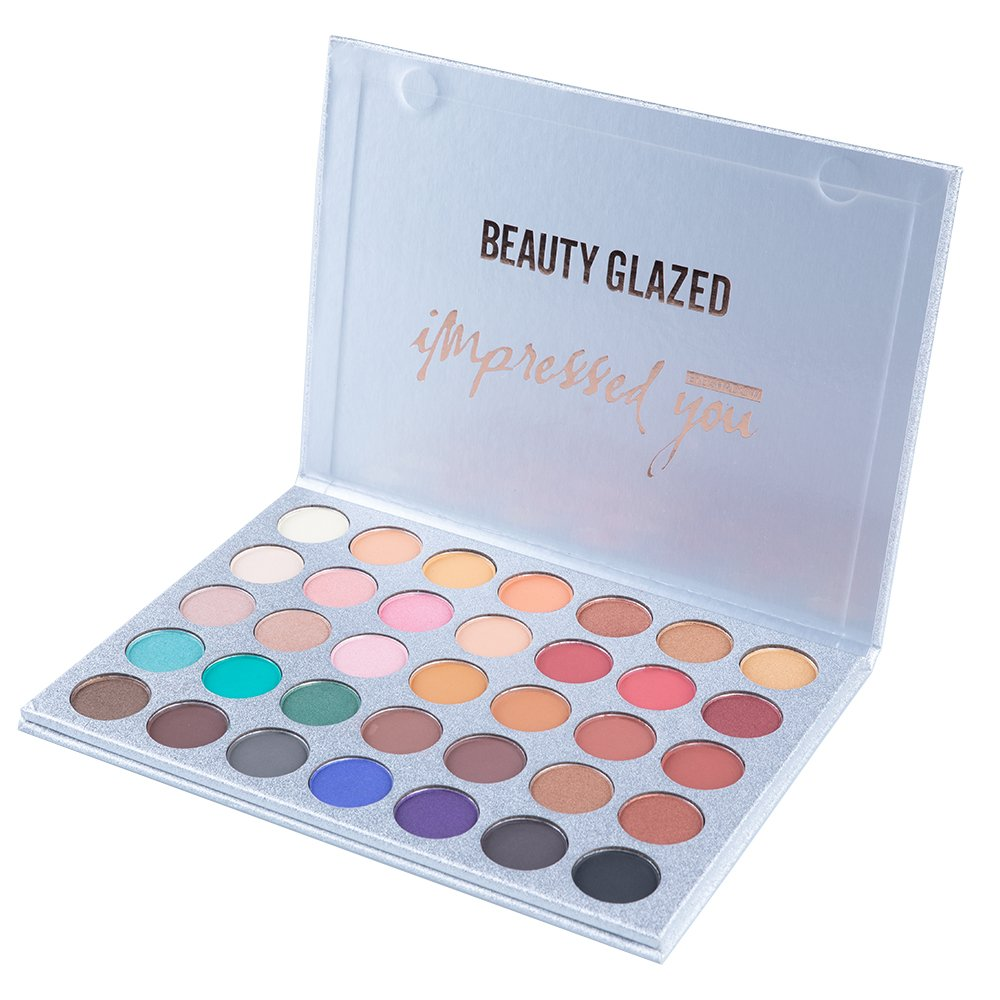 New Beauty Glazed 35 Colors Long Lasting.Eyeshadow Palette, Matte Shimmer Eye Shadow Palette Waterproof Powder Natural Pigmented Nude Naked Smokey Professional Cosmetic
