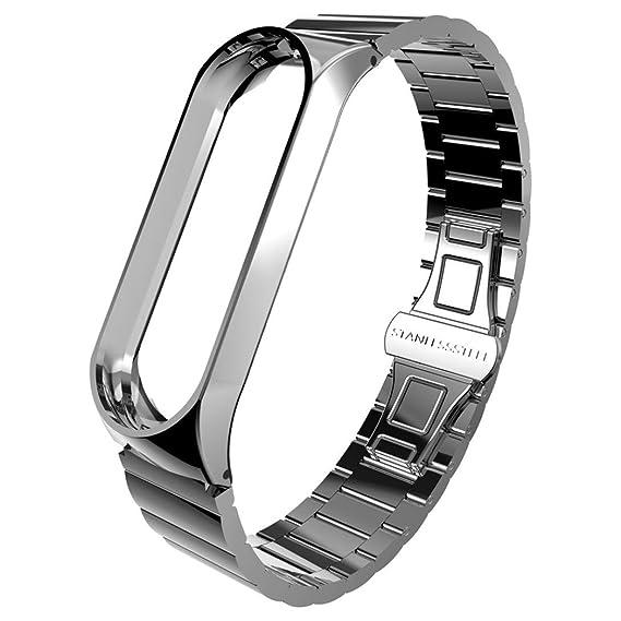 Xiaomi Band 3 Pulsera, Correa de reloj inteligente Para Xiaomi MI Band 3, Nueva pulsera ligera de acero inoxidable de moda, Sencillo Vida: Amazon.es: ...