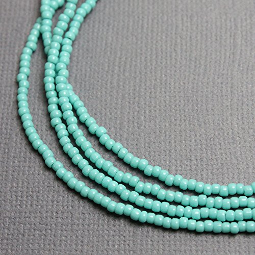 Turquoise Seed Bead Necklace, Shiny Turquoise Color Beaded Single Strand - Strand Single Turquoise Necklace