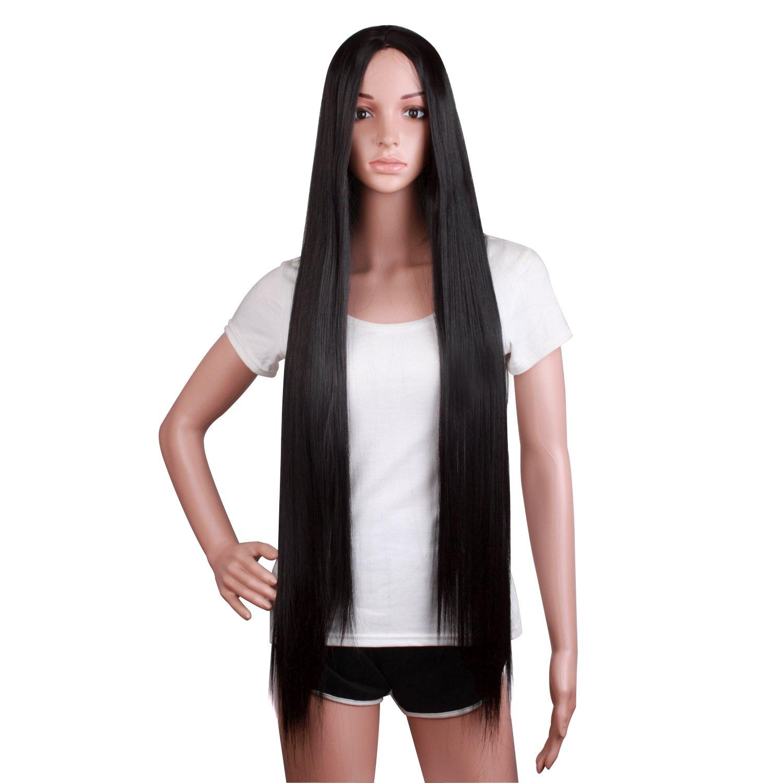 MapofBeauty 100cm Long Straight Sexy Costume Anime Wig (Black) by MapofBeauty