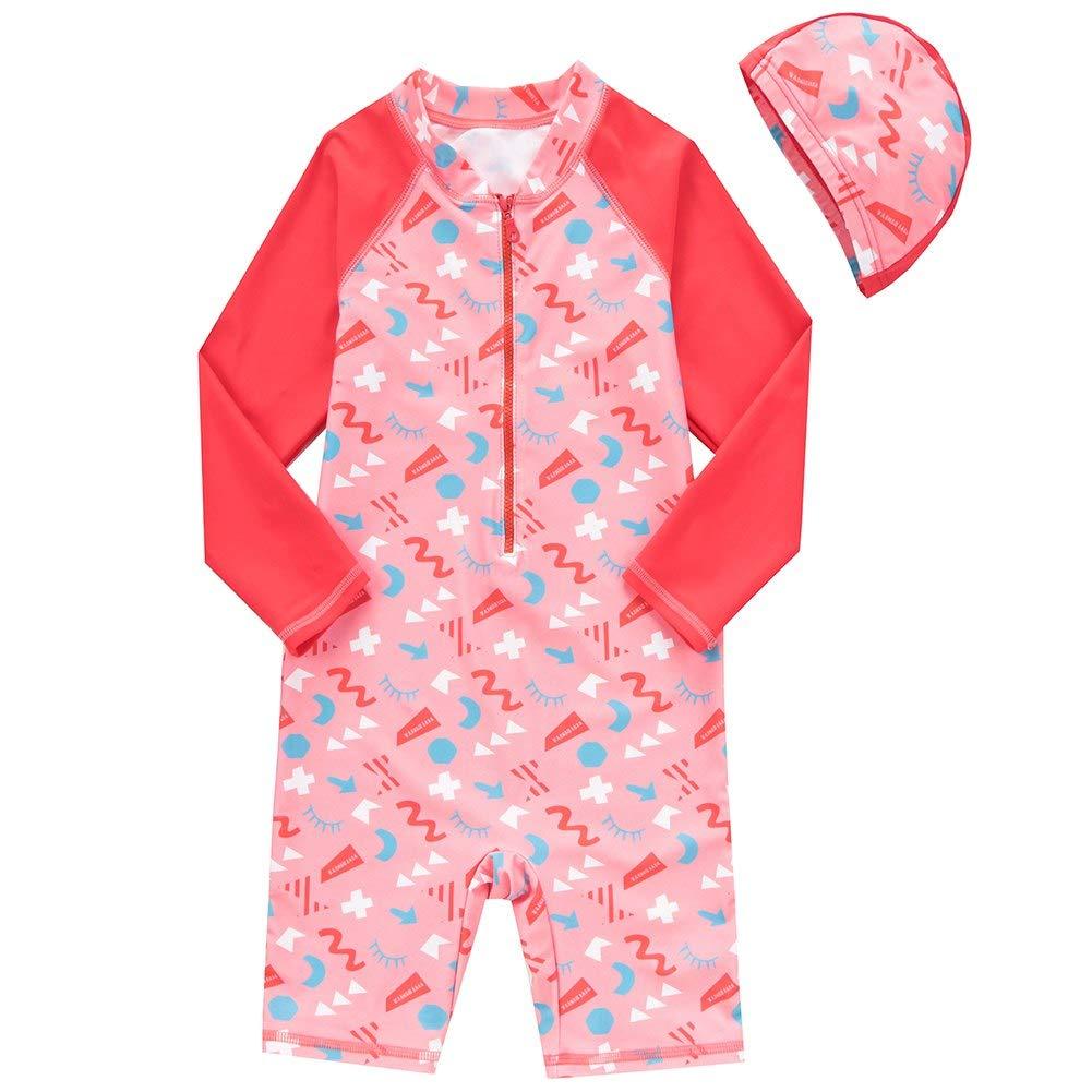 Sun Protection Swimsuits Swimwear Kids Baby Boys Girls One Piece Long Sleeve Rash Guard Bathing Suits UPF50