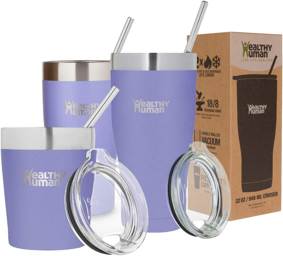 Healthy Human Insulated Tumbler Cruisers with Stainless Steel Straw & Clear Lid. - Keeps Hot & Cold Beverages 2 Times Longer - Vacuum Double Walled Thermos (12 oz, Lilac)