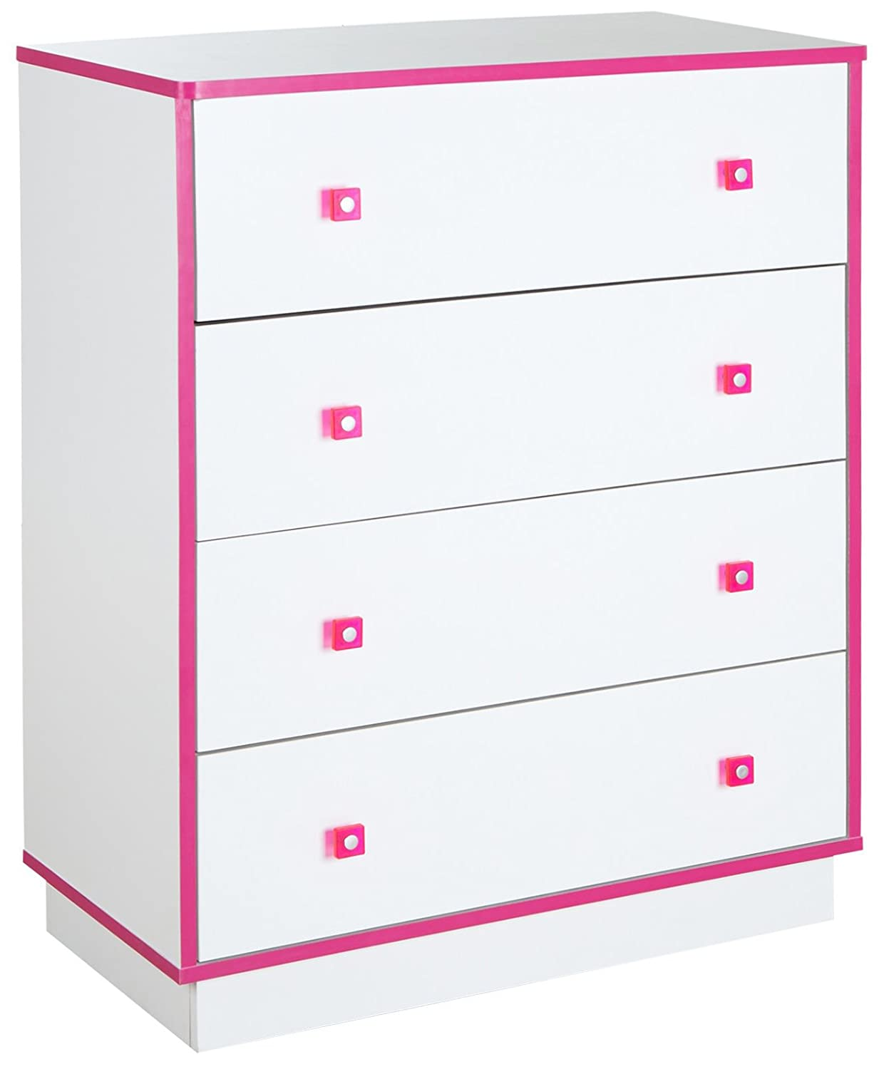 South Shore Furniture Logik 4-Drawers Chest, Pure White and Pink 9039034