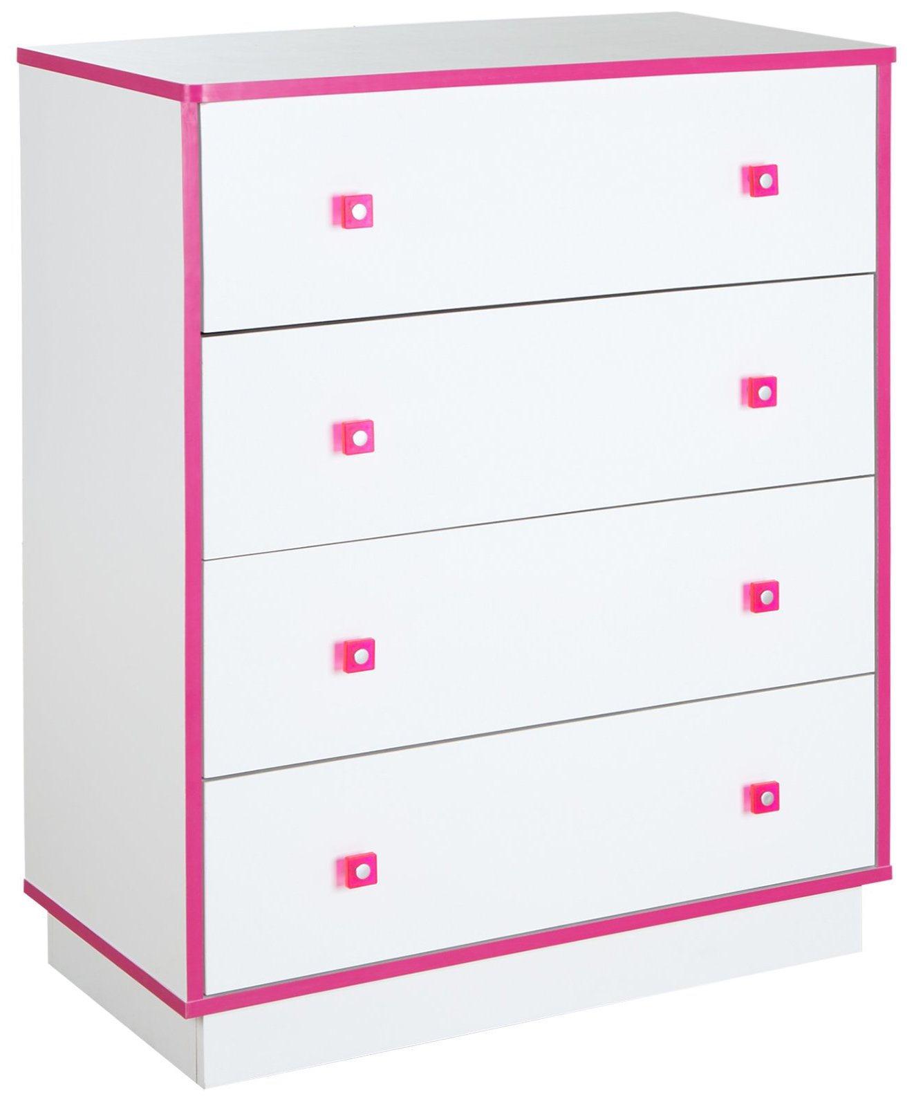 South Shore Logik 4-Drawers Chest, Pure White/Pink by South Shore