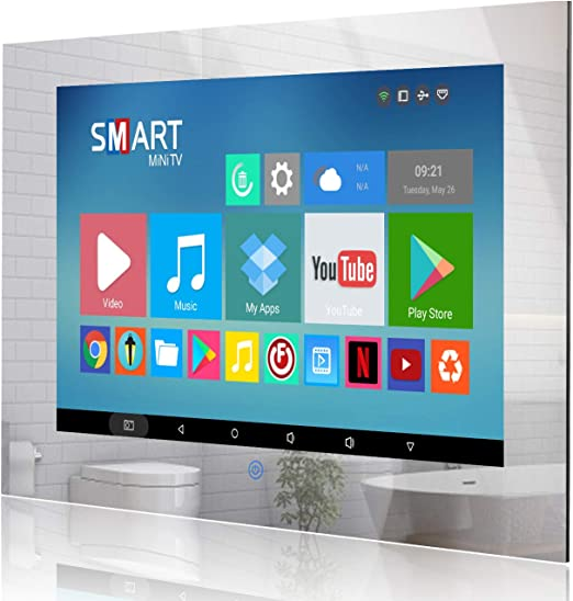 Haocrown Smart TV LED para baño IP66 Impermeable Sistema Android Televisión con Pantalla táctil y Wi-Fi Incorporado (32 Pulgadas, Espejo): Amazon.es: Electrónica