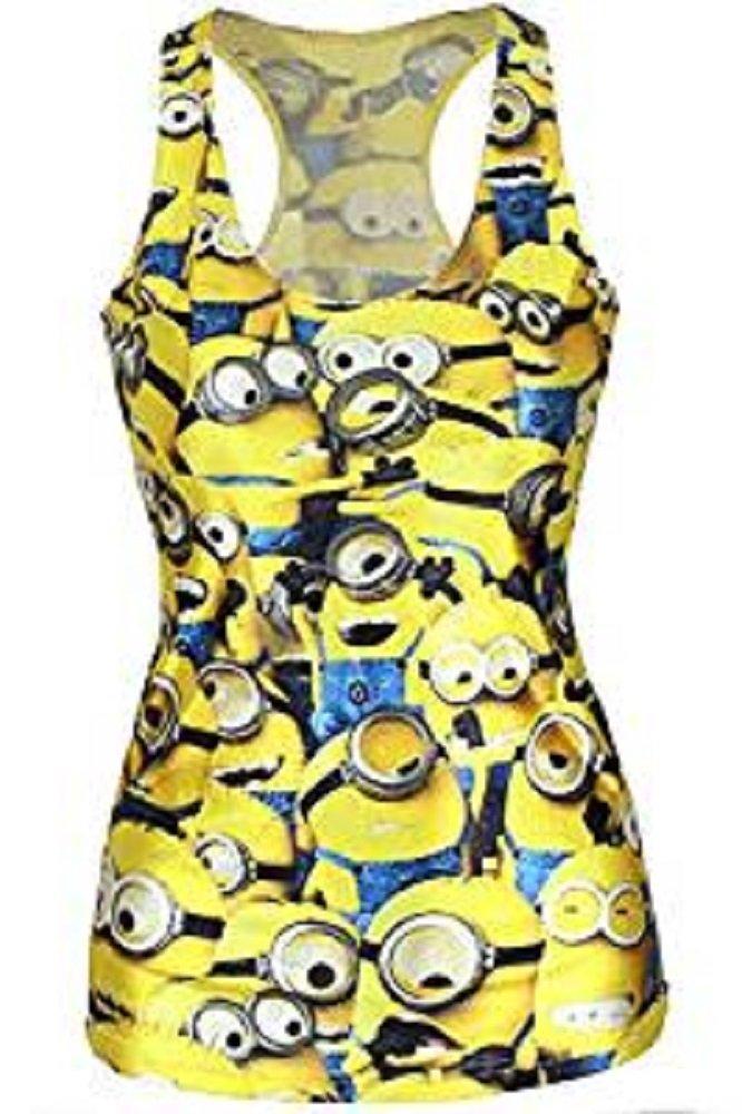 Nuevas señoras amarillo Minions Impresión tanque chaleco Top verano Top Minions Club wear ropa talla...