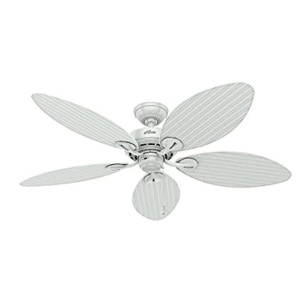 Buy Hunter Fan Company 54097 Bayview 54 Inch Etl Damp Listed Ceiling Fan With Five White Wicker White Palm Leaf Plastic Blades White Online At Low Prices In India Amazon In