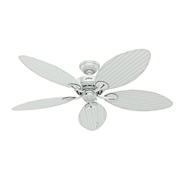 Hunter fan company 54097 bayview 54 inch etl damp listed ceiling fan hunter fan company 54097 bayview 54 inch etl damp listed ceiling fan with five white aloadofball Image collections