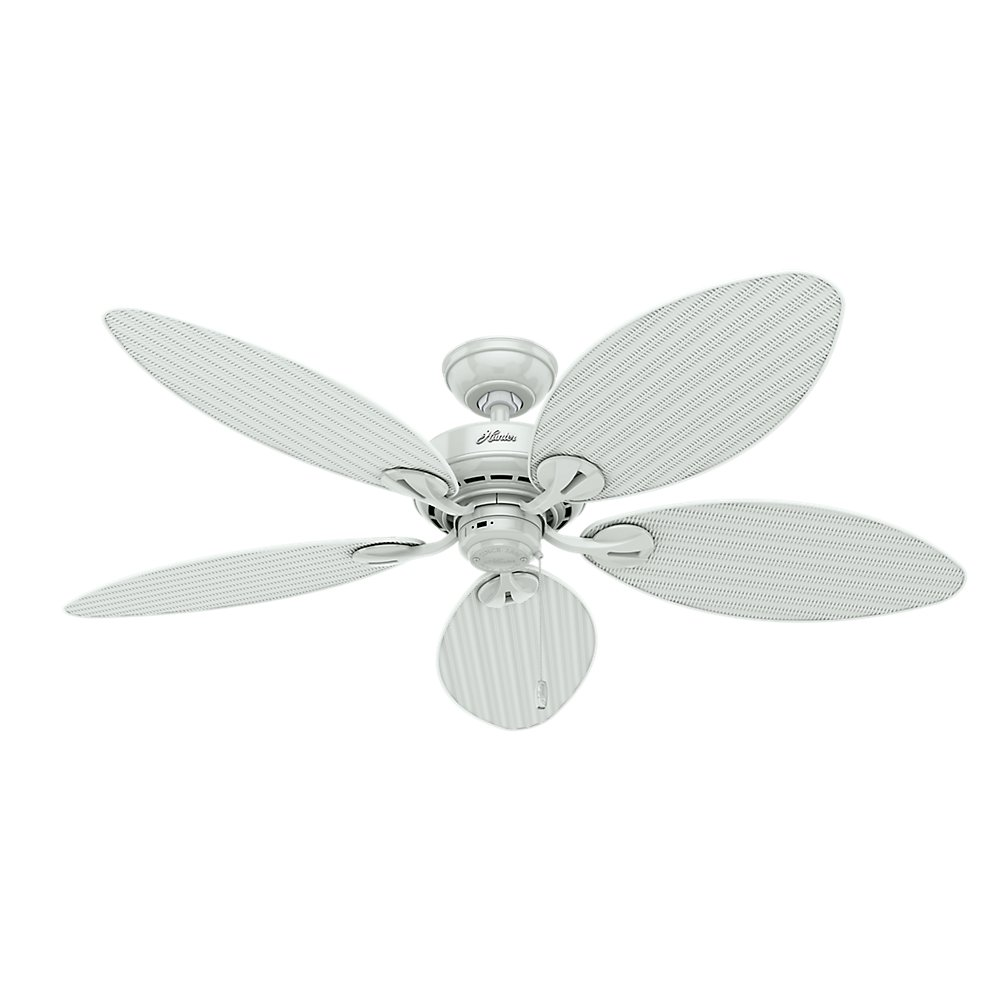 Hunter Fan Company 54097 Bayview 54-Inch ETL Damp Listed Ceiling Fan with Five white Wicker/White Palm Leaf Plastic Blades, White
