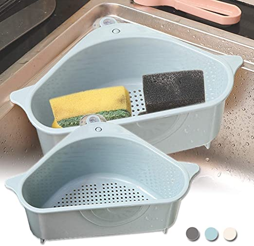 Kitchen Tool Sink Sponge Holder Space Saving Strainer Organizer Storage Rack