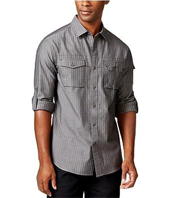 4cff22015db Sean John Mens Poplin Button Up Shirt Grey M at Amazon Men s Clothing store