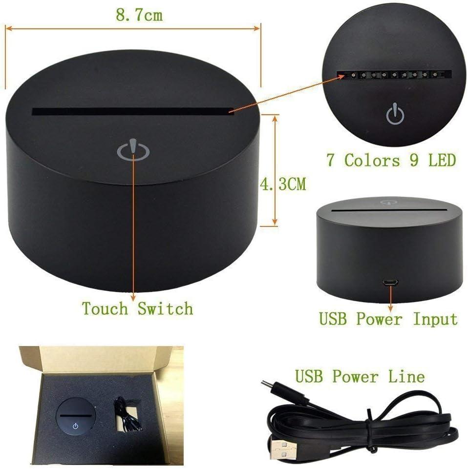 Ilusi/ón /óptica 3D Martillo Luz de Noche 7 Colores que Cambian USB Poder Touch Switch Decor L/ámpara LED Mesa L/ámpara Ni/ños Juguetes Cumplea/ños Navidad Regalo