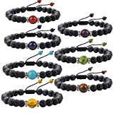 7 Chakras Stretch Bracelet J.Fee Healing Gemstone 7 Pack Jewelry Set Oil Diffuser Bracelet Beaded Crystal Adjustable Bracelet Religious Lava Stone Bracelet Christmas Birthday Gifts for Men Girlfriend