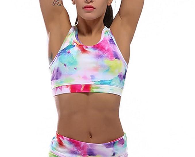 WKAIJCC Mujer Ropa Interior Deportes Sujetador Funcionamiento Gimnasio Al Aire Libre Yoga Chaleco Shock Rápido Impresión
