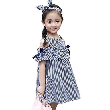 579325d45cc95 「Bidear」子供 ワンピース 女の子 オフショルダーワンピース キッズ 子供服 ストライプ柄 リボン付