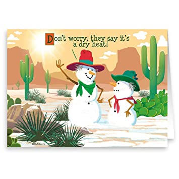 Funny Christmas Pics.Dry Heat Western Snowman Funny Christmas Card 18 Holiday Cards