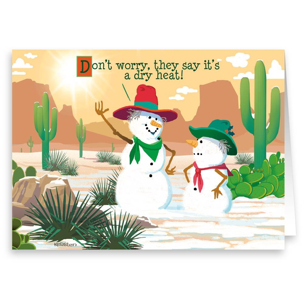 Amazon.com: Tumbleweed Snowman Western Theme Christmas Card - 18 ...