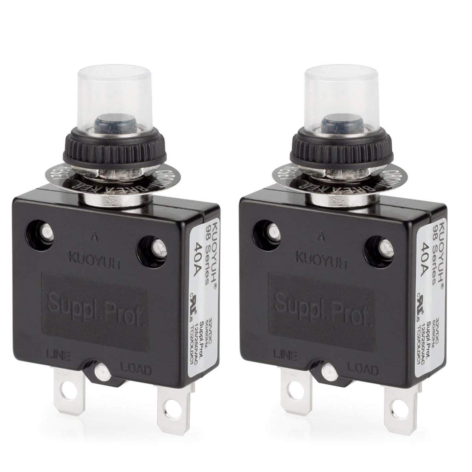Thermal Circuit Breaker, DIYhz 40 Amp Push Button Manual Reset Circuit Breaker 32V DC 125/250VAC 50/60Hz with Quick Connect Terminals and Waterproof Button Transparent Cap 2Pcs