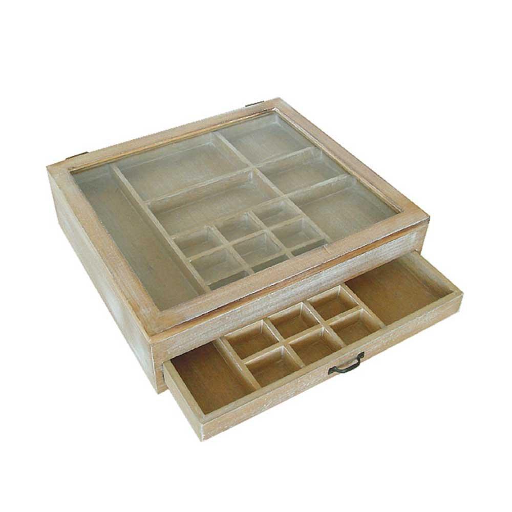 Pharao24 Setzkasten aus Holz Glasscheibe