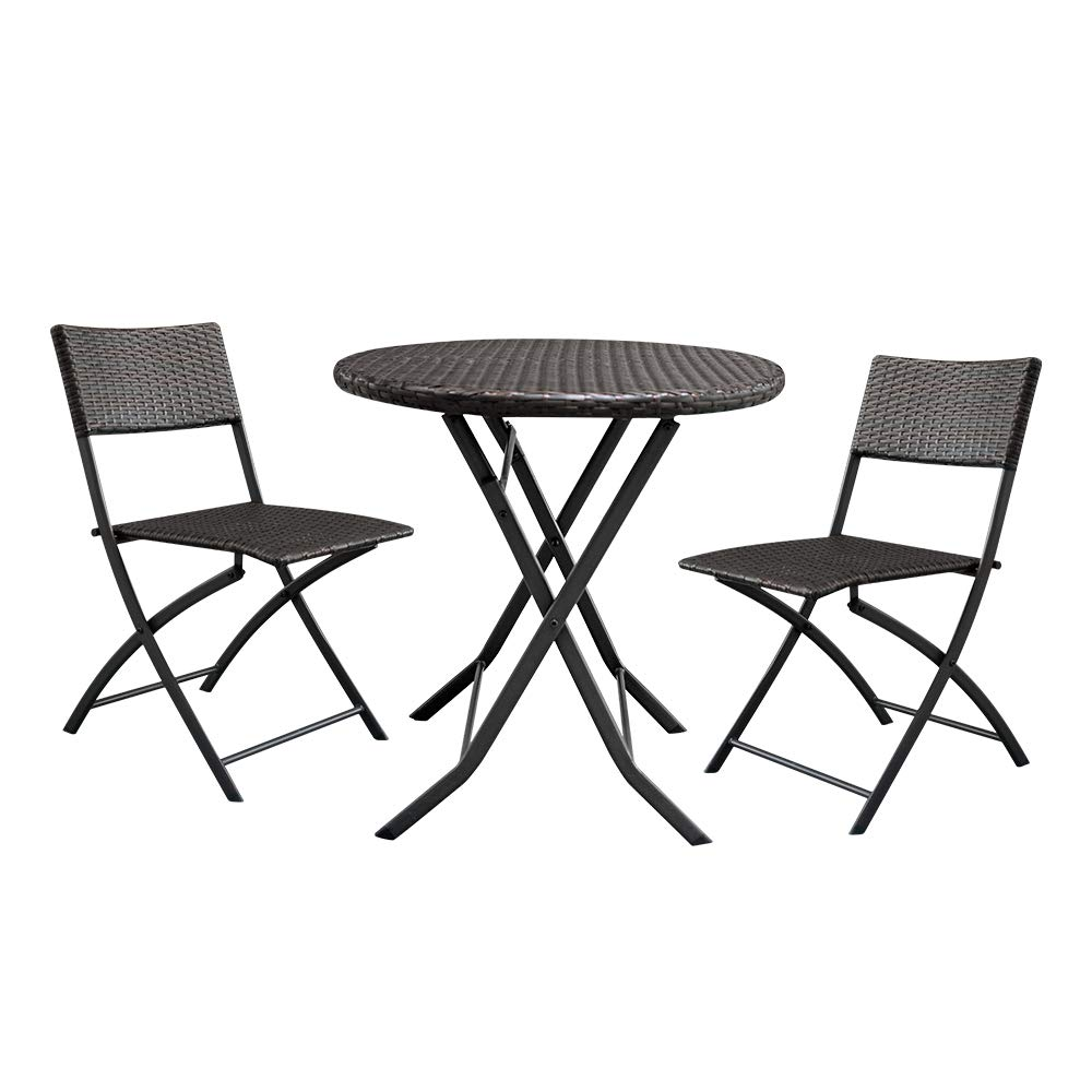 Lovinland Patio Furniture 3 Piece Rattan Outdoor Furniture Folding Table and Chair Conversation Set for Pool Garden Lawn Backyard Balcony Brown Gradient