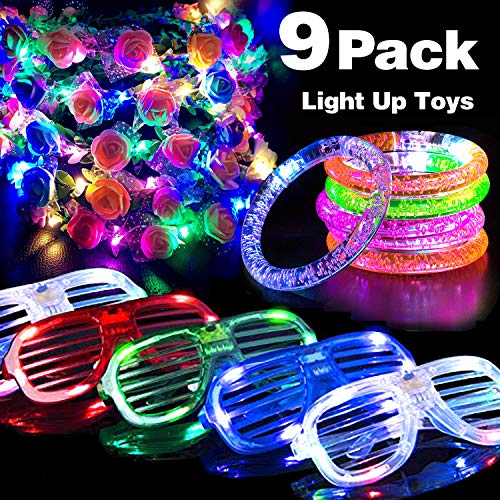 St. Patrick Day Party Favor 9 Pack Light Up Toys for Kids Adults Glow in The Dark 3 Flashing Slotted Shade Glasses 3 LED Bracelets 3 Flower Wreath Headbands LED Crown Best Birthday Gift for Her -