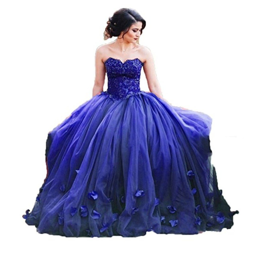 Royal bluee Liaoye Women's Sweetheart Appliques Quinceanera Dress Tulle Wedding Ball Gown